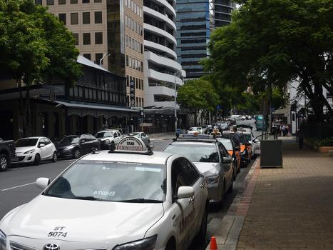 Taxis lined up at taxi rank